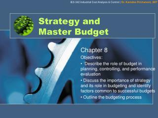Strategy and  Master Budget