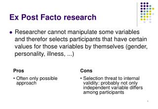 Ex Post Facto research
