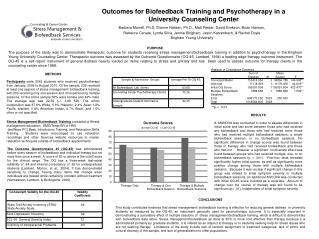 Outcomes for Biofeedback Training and Psychotherapy in a University Counseling Center