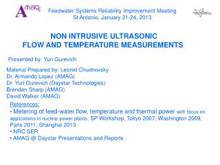 Feedwater Systems Reliability Improvement Meeting St Antonio, January 21-24, 2013