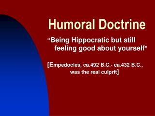 Humoral Doctrine