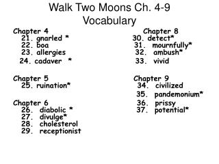 Walk Two Moons Ch. 4-9 Vocabulary