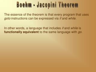 Boehm - Jacopini Theorem