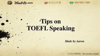 Tips on  TOEFL Speaking