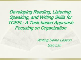 Writing Demo Lesson  Gao Lan