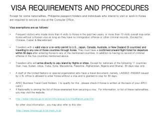 VISA REQUIREMENTS AND PROCEDURES
