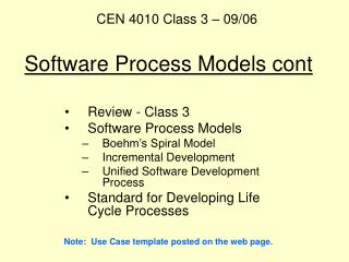 Software Process Models cont