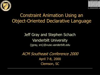 Constraint Animation Using an  Object-Oriented Declarative Language