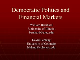 Democratic Politics and Financial Markets