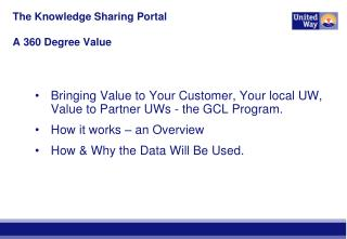 The Knowledge Sharing Portal   A 360 Degree Value