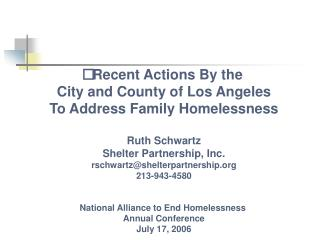 Recent Actions By the  City and County of Los Angeles To Address Family Homelessness