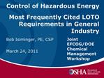 Control of Hazardous Energy   Most Frequently Cited LOTO Requirements in General Industry