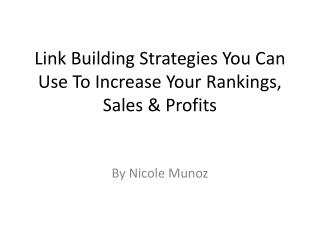 Link Building Strategies You Can Use To Increase Your Rankings, Sales & Profits