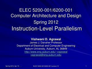 ELEC 5200-001/6200-001 Computer Architecture and Design Spring 2012  Instruction-Level Parallelism