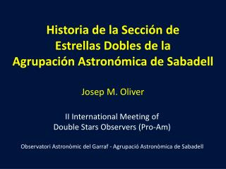 II International Meeting of Double Stars Observers  (Pro-Am)