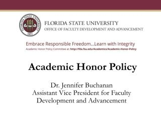 Dr. Jennifer Buchanan Assistant Vice President for Faculty Development  and Advancement