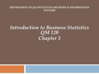 Department of Quantitative Methods & Information Systems