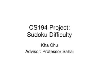 CS194 Project: Sudoku Difficulty