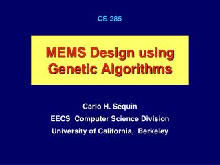 MEMS Design using Genetic Algorithms