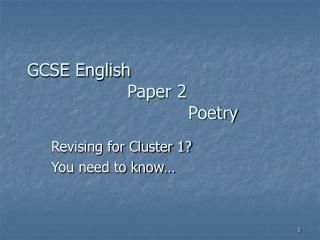 GCSE English                    Paper 2                              Poetry