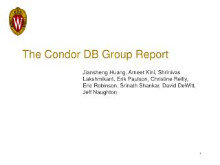The Condor DB Group Report