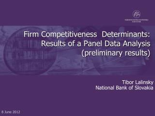 Firm Competitiveness  Determinants: Results of a Panel Data Analysis (preliminary results)