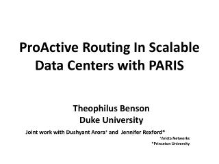ProActive  Routing In Scalable Data Centers with PARIS