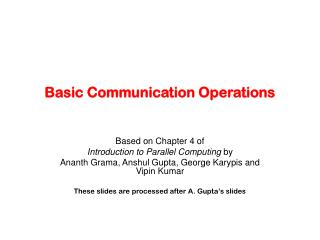 Basic Communication Operations