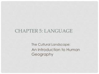 Chapter 5: Language