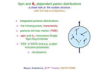 Spin and  k ┴  dependent parton distributions