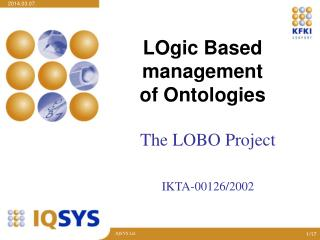 LOgic Based  management  of Ontologies