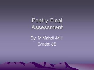 Poetry Final  Assessment