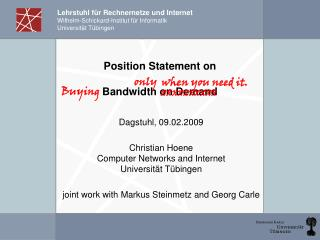 Position Statement on Bandwidth on Demand