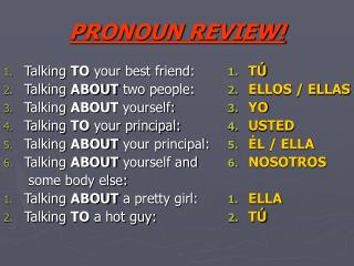 PRONOUN REVIEW!