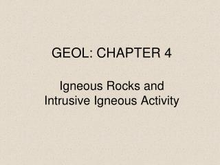 GEOL: CHAPTER 4