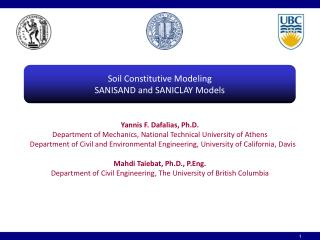 Soil Constitutive Modeling SANISAND and SANICLAY Models