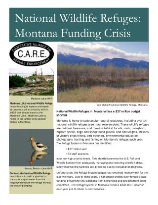 National Wildlife Refuges in  Montana face a $27 million budget shortfall