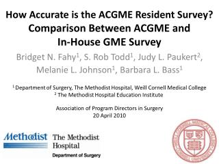 How Accurate is the ACGME Resident Survey? Comparison Between ACGME and  In-House GME Survey