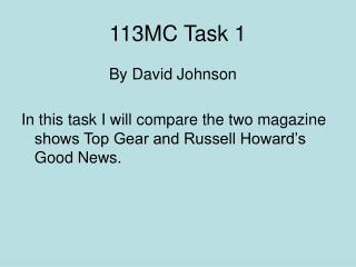 113MC Task 1
