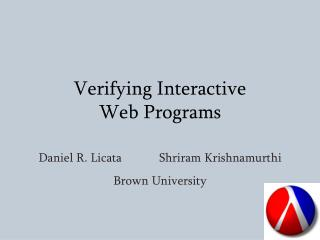 Verifying Interactive  Web Programs