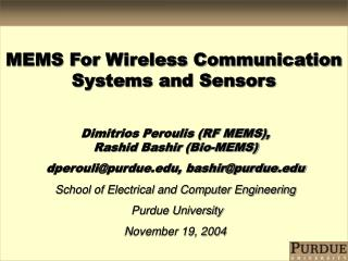 MEMS For Wireless Communication Systems and Sensors
