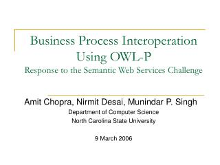 Business Process Interoperation Using OWL-P Response to the Semantic Web Services Challenge