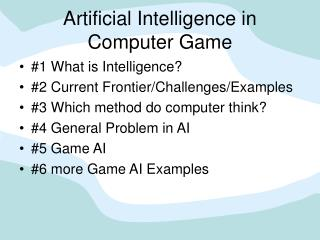 Artificial Intelligence in Computer Game