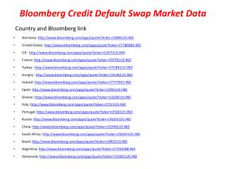 Bloomberg Credit Default Swap Market Data