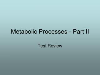 Metabolic Processes - Part II