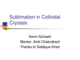 Sublimation in Colloidal Crystals