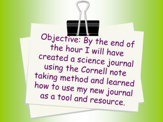 Journaling in Science for Students  Includes information adapted from NSTA - 2007