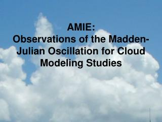 AMIE:  Observations of the Madden-Julian Oscillation for Cloud Modeling Studies