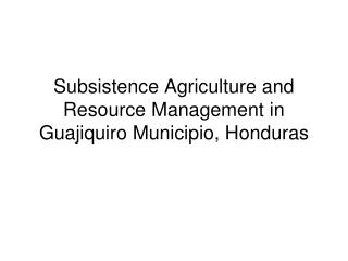 Subsistence Agriculture and Resource Management in Guajiquiro Municipio, Honduras