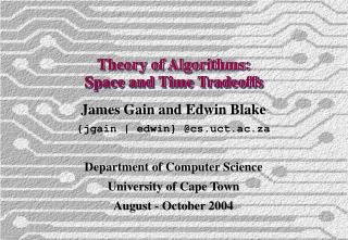Theory of Algorithms: Space and Time Tradeoffs